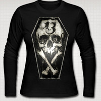 Lucky 13 Coffin Skull and Cross Bones ladies long sleeve T