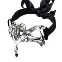 Paris' celebrated C19th 'gothic' poet and visionary, and champion of the supernaturally creative powers of absinthe; with Swarovski crystals and elegant, bow-tied black ribbon.
