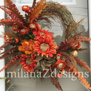 Sunflower Wreath, Fall Wreath, Grapevine Wreath, Autumn Door Hanger, French Country Floral, Glitzy and Glamorous, Thanksgiving Decorations