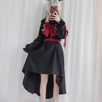 Puppet Doll Women Lolita Dress Vestido Full sleeve dresses Darkness Girl Black Punk Goth Gothic Vintage Cosplay One piece dress