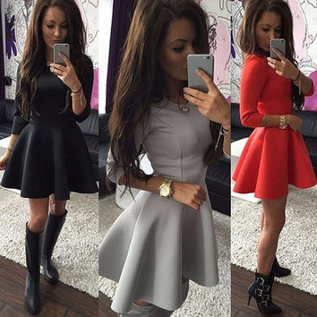 Women Autumn Spring 3/4 Sleeved Solid Color Short Skirt Round Neck Slim Fit Princess Dress Pleated Skirt S-XL = 5618501377