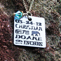 Personalized Mom Necklace - Birth Announcement Square Necklace - Personalized Baby Info Necklace