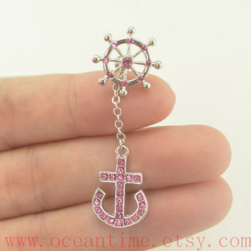 Tragus Earring Jewelry,anchor and rudder barbell piercing jewelry, dangle anchor ear Helix Cartilage jewelry,lucky earring,oceantime