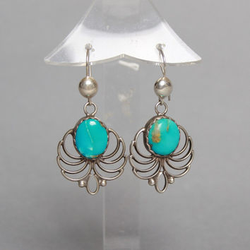70s STERLING Navajo EARRINGS / Turquoise Feather Dangle Drop Earrings