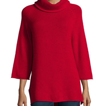 Cowl-Neck 3/4-Sleeve Cashmere Tunic, Size: