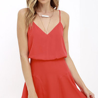 Wanna Bet? Coral Red Sleeveless Dress