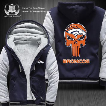 Dropshipping USA Size Men Women Denver Broncos Winter Thicken Fleece Coat Hooded Zipper Sweatshirt Jacket Costume Made