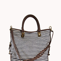 Nautical Stripped Faux Leather Tote