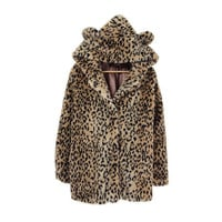 LEOPARD PRINT faux fur jacket with BEAR ears