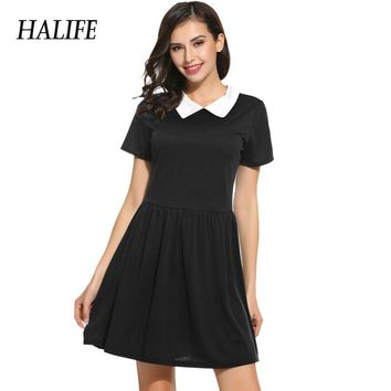 Black Dress With White Collar Short Sleeve Summer Dress School Preppy Style Women Peter Pan Collar Skater Vestidos Mini Sundress