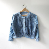 vintage cropped shirt. Textured cotton jacket. denim jean jacket.
