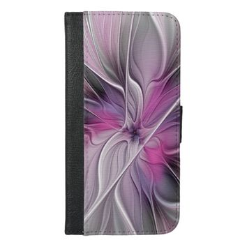 Floral Fractal Modern Abstract Flower Pink Gray iPhone 6/6s Plus Wallet Case