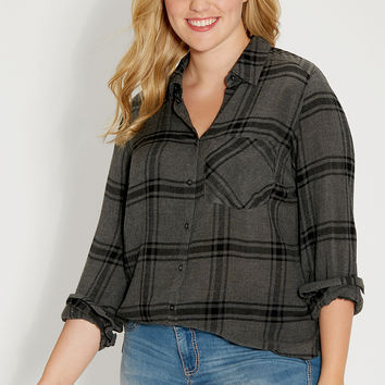 plus size soft button down shirt in black and gray plaid