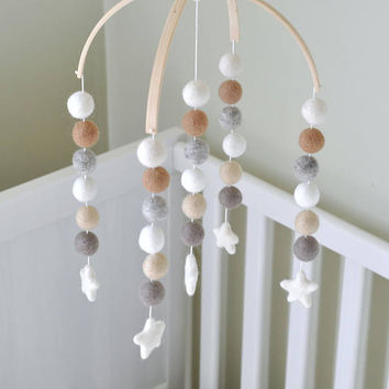 Neutrals Nursery Mobile - Pom Pom Mobile - Felt Ball Mobile - Baby Stars Mobile - Natural Nursery Mobile - Christmas Gift for Baby 2017