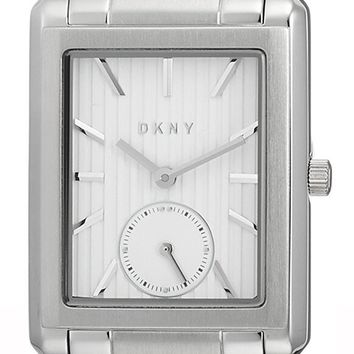 DKNY Gershwin Silver Dial Rectangular 3 Hands Steel Women Watch NY2623