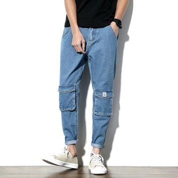 Fashion Men's Jeans Hip Hop Jean Man's Jeans Men Casual Pants Multi Pockets Tide Slim Straight Joggers Roupas 2018 New Spring