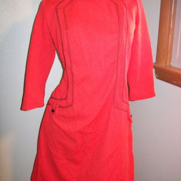 Vintage 60s 70s Bright Ruby Red Scooter Girl GoGo Dancing Stewardess Dress