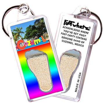 Cozumel FootWhere® Souvenir Keychain. Made in USA