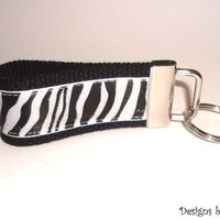 Mini Zebra Key Fob - Black Iridescent - Keychain