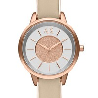 Women's AX Armani Exchange Round Leather Strap Watch, 30mm - Nude/ Rose Gold