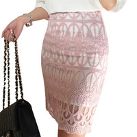 Fashion Lace Embroidered Hollow Out Pencil Crochet Skirts 2016 Summer High Waist Bandage Midi Skirts Zippered Office Work Skirt