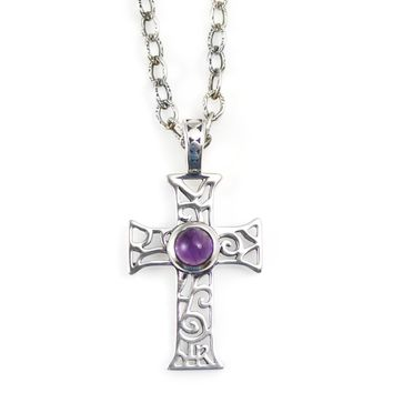 Cross Pendant in Sterling Silver and Amethyst