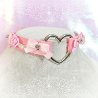 BDSM Daddys Girl Choker Necklace Pink Faux Leather Heart Rose Bow Rhinestone Kitten Play Collar pastel goth Lolita Neko Cat DDLG