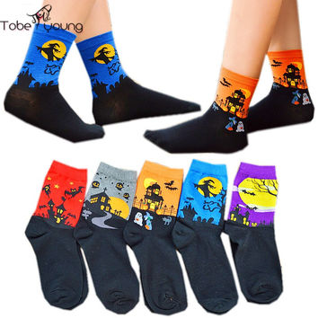 2016 New Funny 3D Cartoon Printed Animals High Socks Unisex Cotton Warm Sock Womens Mens Witch/Bats/Ghost Halloween Accessories