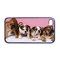 Cute English bulldog puppies Apple iPhone 4 or 4s Case / Cover Verizon or At&T Phone Great Gift Idea