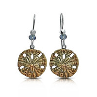 Sand Dollar Drop Earrings, Mermaid Jewelry
