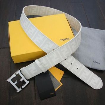 ICIKB7E Authentic WHITE Fendi College FF Buckle Belt Zucca 90 cm 30-32