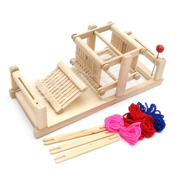 DIY Brocaded Enginery Chinese Traditional Wooden Table Weaving Loom Machine Model Handicraft Toy