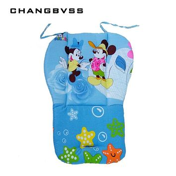 Thick Blue Pink Baby Seat Mat,Infant Stroller Seat Cushion,Baby Stroller Pushchair Mattress,Cartoon Stroller Pad Baby Car Seats
