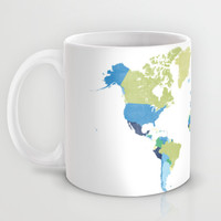 Dream big little one world map in blue, lime green & navy blue Mug by BlursbyaiShop