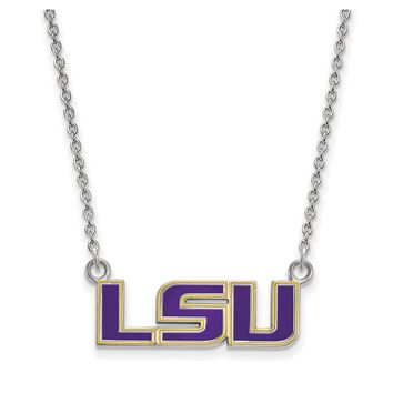 NCAA Sterling Silver Louisiana State Small Enamel Pendant Necklace