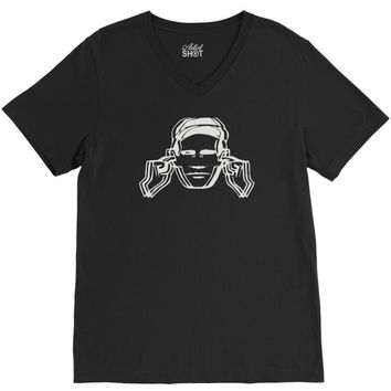 factory records use hearing protection V-Neck Tee