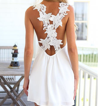 White Backless Lace Sleeveless One Piece Dress [4981693060]