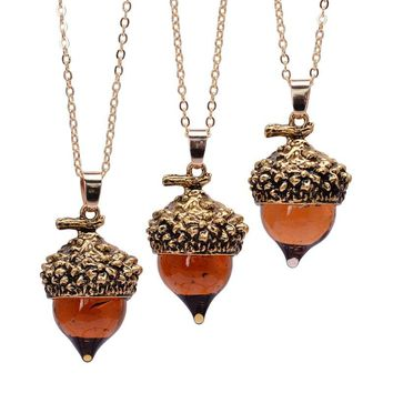 Glaze Acorn Cone Pendant Necklaces