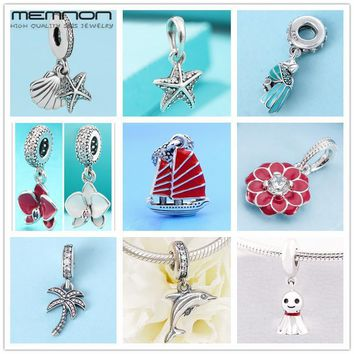 Summer Orchid Palm Tree Tropical Starfish Dangle charms 925 sterling silver enamel parrot fit bracelet necklace pendant DIY