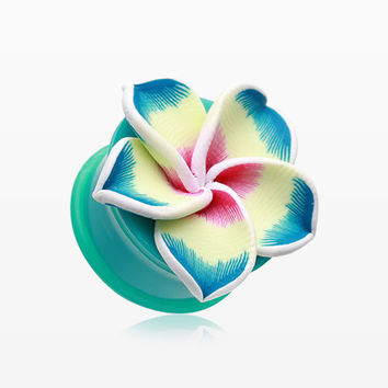 A Pair of Hawaiian Plumeria Flower Acrylic Ear Gauge Plug