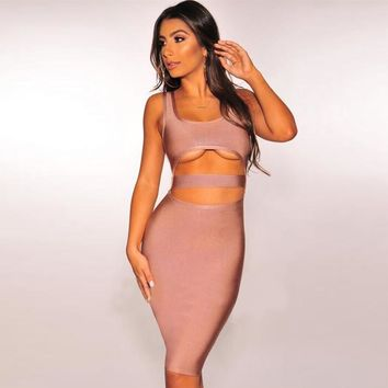 Nude Sleeveless Cutout Bandage Dress