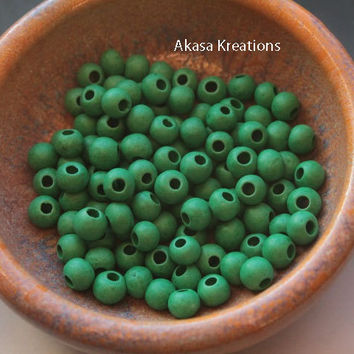 8mm Green Round Mykonos Greek Ceramic Beads (Packs of 10) Circles Spheres Large Hole Bead Supply Heart Chakra Emotion Growth Harmony Peace