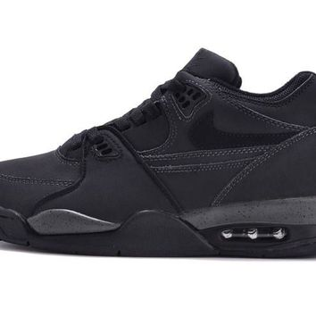 hcxx Nike Air Flight 89 Suede Fashion Causal Skate Shoes All Black