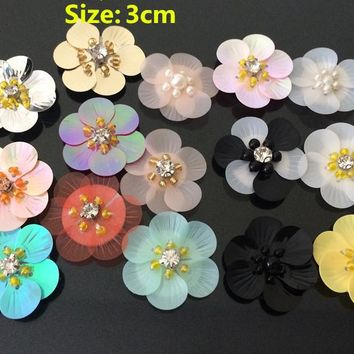 10pcs pink/blue/white sequins Rhinestones beads flowers appliques patches brooches Free Shipping