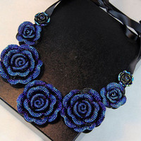 Jewelry Gift New Arrival Shiny Stylish Korean Lace Pearls Floral Scarf Necklace [6586261639]