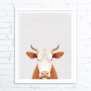 Rustic home decor, Cow Print, Cow Art, Farm Animal Wall Art, Farmhouse Decor, Animals Digital Download,  Animal Modern Minimalist