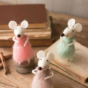 Set Of Felt Girl Mice With Pearls