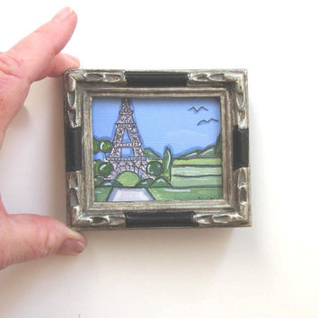 Miniature Eiffel Tower Painting,  Country French,  Paris,  silver frame, miniature, acrylic, pen and ink
