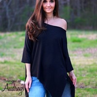 Adora Soft Black Asymmetrical Off-Shoulder Tunic Top