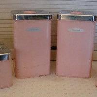 price Reduction-1950s Masterware Canister Set, Pink Enamel and Chrome, with original Box